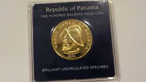 1975 FM PANAMA 100 BALBOA BEAUTIFUL UNCIRCULATED GOLD COIN  KM #41