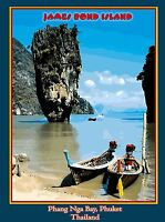 Thailand Phuket James Bond Island Phang Nga Bay Travel Advertisement Art Poster