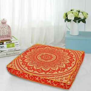 """Ottoman Cushion Floor 35"""" Mandala Indian Square Seating Cover Pouf Pillow Case"""