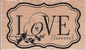 """Love Forever Rubber Stamp New Wood Mounted Hampton Art 3.25"""" by 2"""""""