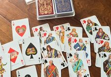 Vintage FRENCH PLAYING CARDS TWO Full Decks  One Sealed,bridge cards w/ case
