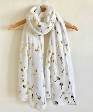 WHITE WITH GOLD COCONUT PALM TREES  FOIL PRINT SCARF METALLIC  FOIL PRINT SCARF
