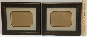 """Picture Frame Pair Set 2 Wood & Metal Brushed Copper Matting for 6.5"""" x 4.5"""""""