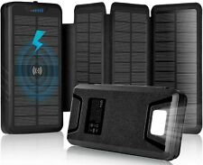 35800mAh Solar Power Bank with Dual 3.1A Outputs Wireless Charger w/ Flashlight