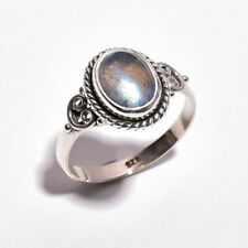 925 Sterling Silver Ring Size UK V 1/2, Natural Labradorite Women Jewelry R4357