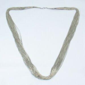 Vtg Rising Sun Sterling Silver 925 Liquid Micro Bead 50 Strand Necklace - 73.7gm