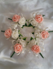 Peach Ivory Wedding Buttonhole Pin Corsage Bridal Flower Girl Bridesmaids Satin