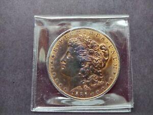 1886P Morgan Silver Dollar Golden Rainbow Toning XF 2107103