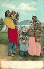 Embossed Silk Postcard Native American Indian Family in Silk Clothing circa 1906