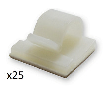 25 NATURAL 16 x 16mm ADHESIVE STICKY CABLE CLIPS 6mm - 8mm CABLE DIAMETER