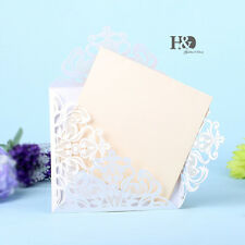 60pcs White Laser Cut Wedding Invitation Cards With Custom Personalized Printing