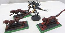 Warhammer 40K Dark Eldar Drukhari Beastmaster & Warp beasts painted metal oop