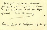 🌓 Paul BOURGET (1870-1963) | carte autographe |1892| Cannes | Hotel Californie