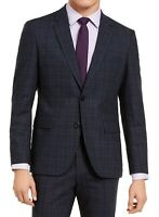 Hugo Boss Mens Blazer Blue Size 42 Long Jeffrey Plaid Modern Fit Wool $545 046