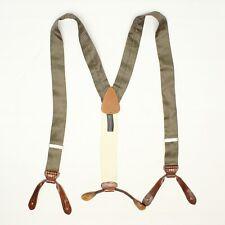 Trafalgar Mens Silk Braces Suspenders Sage Green Brown Lizard Print Leather Tabs