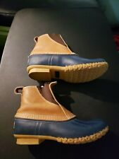 LL Bean Pull On Bean Boots Duck Womens 7 N Blue Rain Shoes Preppy Maine USA