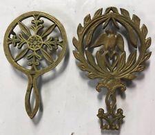 2 Antique Solid Brass Trivets Pennsylvania Dutch Amish Hex Sign Heart Eagle