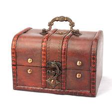 2PCS Wooden Box Vintage Treasure Jewelry Home Decor Floral Antique Organizer