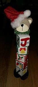 vintage Ames department store Santa Claus bear wooden Christmas block decoration