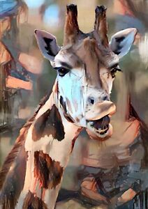 Giraffe Abstract print painting limited edition signed