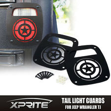 Xprite Black STAR Tail light Guard Cover For 1987 - 2006 Jeep Wrangler TJ YJ