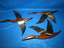 3 VINTAGE MASKETEERS FLYING GEESE DUCK MID CENTURY WOOD AND BRASS WALL ART