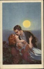 Italian Art Deco - Couple Embrace in Moonlight Signature? c1915 Postcard