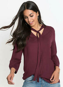NEW dark RED wine TUNIC pussy bow ties JERSEY TOP plus size 22 24