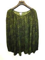Ava & Viv 1X Dark Green Black Print Shirt Long Sleeve Boat Neck Pullover 1XL Top