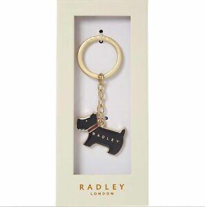 Radley London Black Pageant Enamel Key Ring Scottie Dog Bag Charm