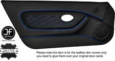 BLUE DIAMOND STITCH 2X FULL DOOR CARD TRIM LEATHER COVERS FOR MGTF MK2 00-06