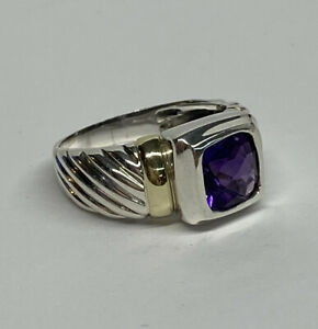 David Yurman Sterling Silver 14k Amethyst Cable Ring -  Size 8 1/2