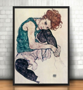 PRICE DROP Seated Female Figure, printed on canvas, 49.5 cm  x 73.5 cm approx
