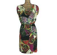 Womens 10 Dress Bright Bold Butterfly Cowl Neck Open Back ALFANI Jersey Knit LN