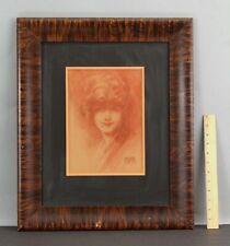 Antique ANDREW LOOMIS Art Deco Woman Portrait Sanguine Crayon Sketch Drawing, NR
