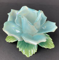Vintage Capodimonte Porcelain Blue Rose Flower Candle Holder With Handle Italy