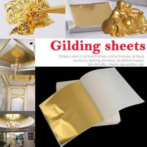 100X Gold Foil Leaf Paper Food Cake Decor DIY Edible Gilding Craft