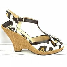 """POETIC LICENSE brown fabric wedge heels NEW """"behave yourself"""" women's Size 10"""
