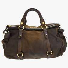 Authentic MIU MIU Logos Ribbon Hand Bag Suede Leather Brown Made In Italy 09Q737