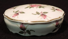 Limoges covered round box pink roses green leaves gold trim France