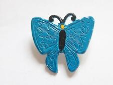 VINTAGE 50'S TURQUOISE BLUE ENAMEL BUTTERFLY INSECT BUG BROOCH