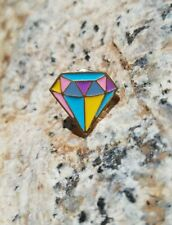 Colored Diamond Jewel Enamel Hat Lapel Pins Free USA Shipping + Cloth Gift Bag