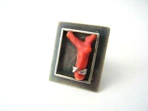 Ausgefallener Designer Ring Silber 925 Koralle signiert