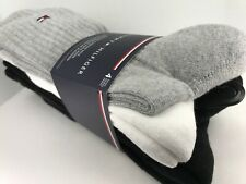 $36 MSRP Women/'s TOMMY HILFIGER Black THICK 80/% COTTON Socks 6 Pack