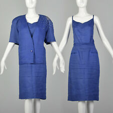 L Blue Pencil Skirt Suit 1980s 3 Piece Set Top Jacket Padded Shoulders 80s VTG