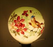 "HURRICANE GWTW OIL LAMP 8"" BALL SHADE - BIRD w/ FLORAL PATTERN -4"" FITTER(CD4)"