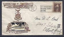 Philippines Islands Naval Cover - USS Henderson, Manila PI - 1938 - Crosby