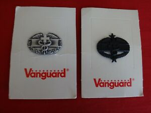 Set 2 US Army Metal Badges By VANGUARD: COMBAT MEDICAL + combat MEDIC 3rd Class