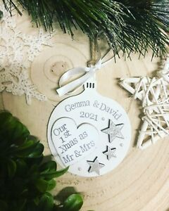 1 personalised wooden bauble ,, our first christmas as mr & mrs 2021
