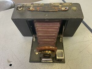 Vintage Kodak Brownie TBI Red Bellows Folding Camera